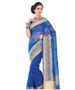 Royal blue embroidered supernet saree
