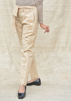 Beige Khadi Cotton Straight Fit Pleated Trouser $ IWK-00054
