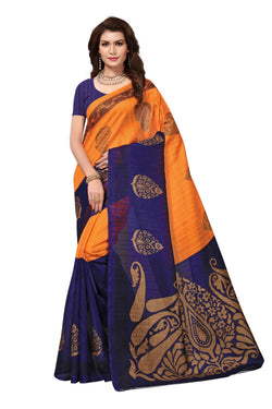 16TO60TRENDZ Blue Color Printed Bhagalpuri Silk Saree $ SVT00449