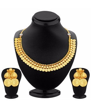 Sukkhi Trendy Gold Plated Temple Jewellery Necklace Set