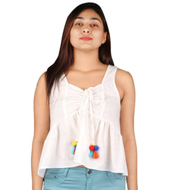 Fashion Tiara Women's White Cotton Drawstring Tops $ FTT223