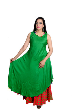 Libas Closet's Designer Rayon kurta and printed polka dot skirt (Green and Red) $ L-106