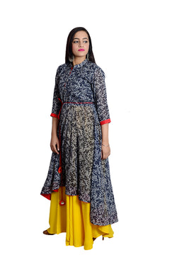Libas Closet's Women Cotton print anarkali style kurta (Printed) with Flair skirt (yellow) $ L-112