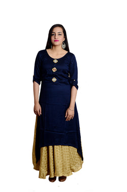 Libas Closet's women Rayon Cotton Mirror work Designer kurta (Navy Blue) $ L-109