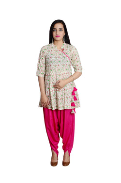 Libas Closet's Women cotton printed anarkali style short kurta (Flower print) with Dhoti style salwar (Pink) $ L-107