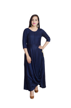 Libas Closet's Women Designer Long Kurta / Gown/Bollywood style Navy Blue) $ L-111