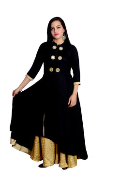 Libas Closet's women Black rayon up down tail cut kurta (mirror work ) $ L-116