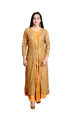 Libas Closet's women Designer Gown Dress with Jacket aatched (Golden and Orange) $ L-110