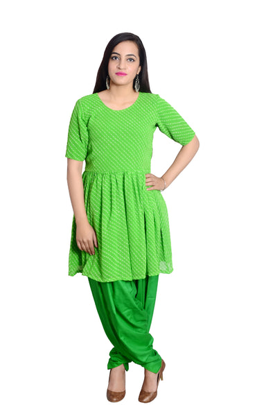 Libas Closet's Georget Leheria/leheriya anarkali style short kurta and Dhoti Salwar (Green) $ L-101