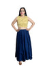 Libas Closet's women Golden crop top (mirror work ) and Blue silk skirt set $ L-114