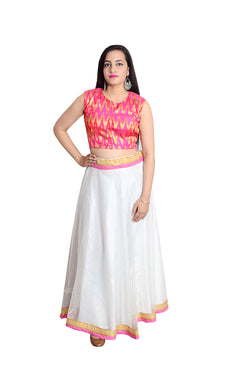 Libas Closet's women Pink silk crop top (mirror work ) and white net skirt set $ L-115