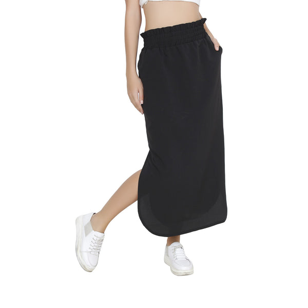 Second Half Black Long Skirt-SH0027
