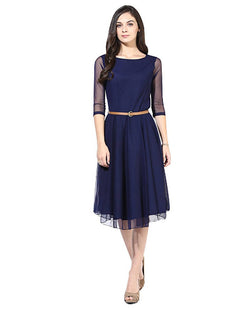 Muta Fashions Women's Semi Stitched Casual Net Dark Blue Kurti $ KURTI50