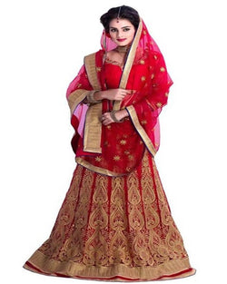 Muta Fashions Women's Semi Stitched Net Red Lehenga $ LEHENGA123