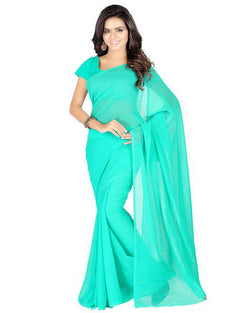 Muta Fashions Women's Unstitched Georgette Green Saree $ MUTA214