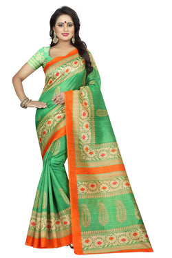 16TO60TRENDZ Green Color Printed Bhagalpuri Silk Saree $ SVT00487