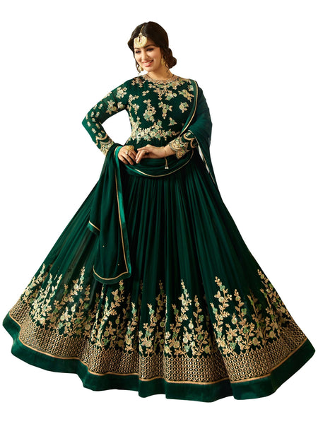 Semi-stitched Designer Faux Georgette heavy Embroidred and Hand work Anarkali Suit $F1196