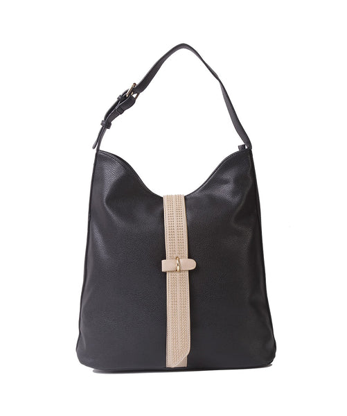Fiona Trends Black PU Shoulder Bag,6604_BLACK