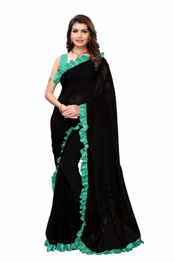 YOYO Fashion Georgette Plain Black saree with Blose $ SARI2654-Firoji