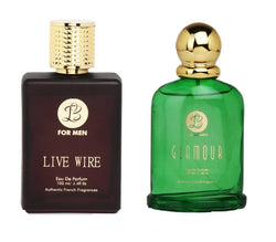 EAU DE PARFUM Mens LIVE WIRE & EAU DE PARFUM Womens GLAMOUR - (Set of 2 Perfume for Couple) (100ml each)