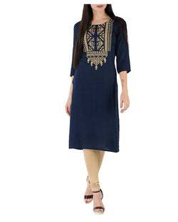 Muta Fashions Women's Semi Stitched Casual Cotton Blend Navy Blue Kurti $ KURTI364