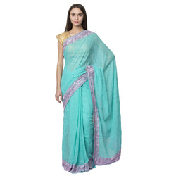 La Vastraa Self Thread Embroidered Light Blue Saree-SPH35