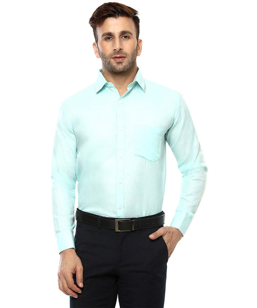 Lee Marc Full Sleeve Lm Cyan Blue Formal Shirt