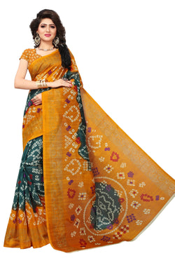 16TO60TRENDZ Yellow Color Printed Bhagalpuri Silk Saree $ SVT00440