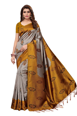16to60trendz Yellow Art Silk Printed Mysore Art Silk Saree $ SVT00212