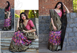 Fashion Zonez Patola weving work Banarasi Patola Silk Pink & Grey Designer Saree With Blouse $ FZ 2732