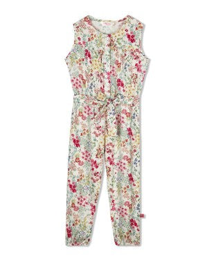 Budding Bees Girls Off White Long Jumpsuit