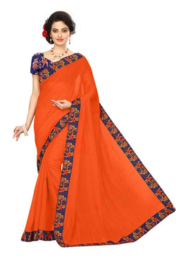 16to60trendz Orange Chanderi Lace Work Chanderi Saree $ SVT00097