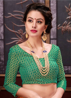 Manvi Fashion Green Color Border Piping Work Broket in Fabric Party Wear Readymade Blouse $ MF 3097