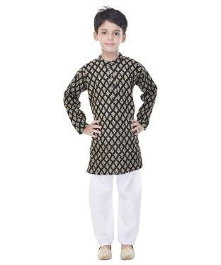Soundarya Cotton Black Printed Kurta and Payajama