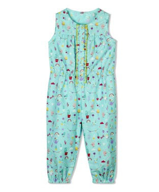 Budding Bees Infant Sky Blue Printed Jumpsuit
