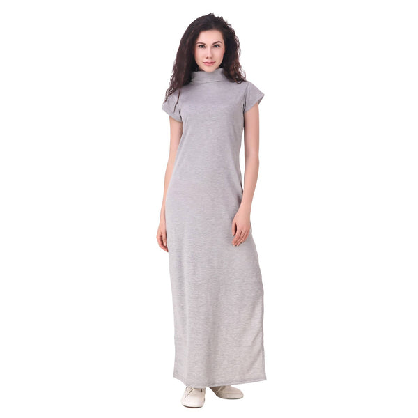 Fame 16 Short Sleeves Solids Women's Cowl Neck Grey Cotton Dress $ F16-1600176