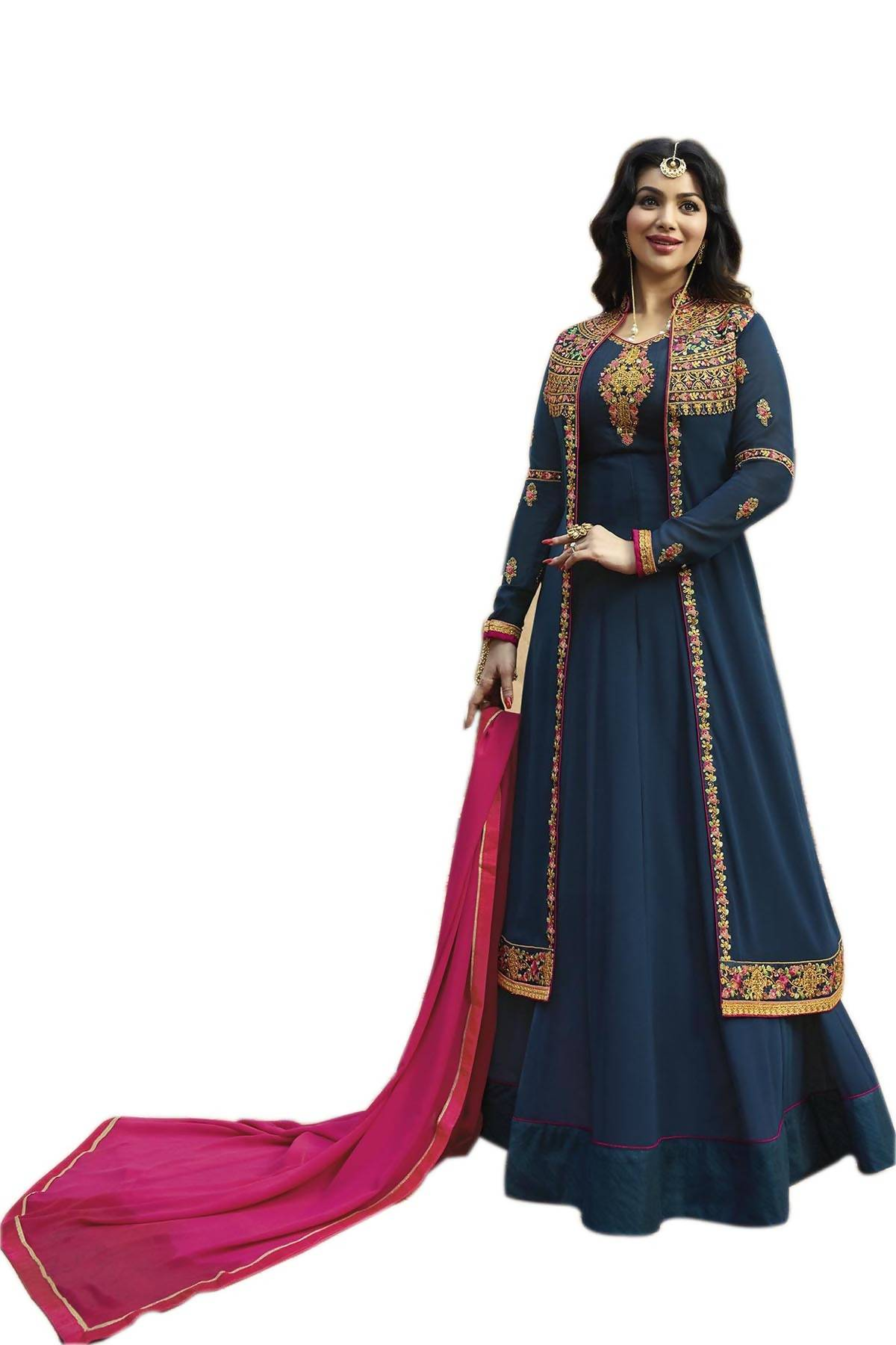 fe88c45d5c YOYO Fashion Latest Fancy Semi-stitched Faux Georgette Embroidered Anarkali  Salwar Suit $ F1225 ...