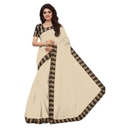 16to60trendz Beige Chanderi Lace Work Chanderi Saree $ SVT00154