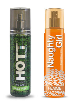 HOTT Mens CALYPSO & Naughty Girl FEMME- (Set of 2 Perfume for Couple) (135ml each)