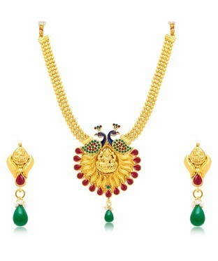 Sukkhi Attractive Laxmi Temple Peacock Gold Plated Necklace Set For Women