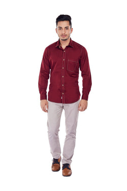 EVOQ Maroon Satin Cotton Full Sleeved Shirt With Three Stitches Across The Shirt-Crimson Tide_Maroon