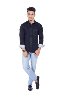 EVOQ Black Satin Cotton Full Sleeved Shirt With Contrasting Collar Band, Inner Button Placket And Cuff-Dark Night_Black