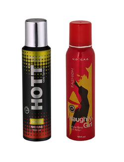 HOTT Mens NOIR & Naughty Girl FASHION - (Set of 2, No Gas Deodorant for Couple) (150ml each)