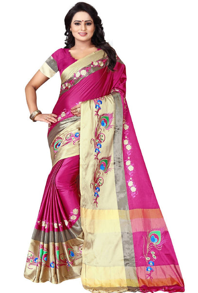 YOYO Fashion Polyester Pink Embroidered Saree With Blouse $YOYO-S-SARI2609