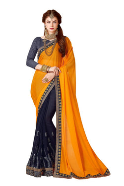 Muta Fashions Women's Unstitched Georgette Yellow Saree $ MUTA1424