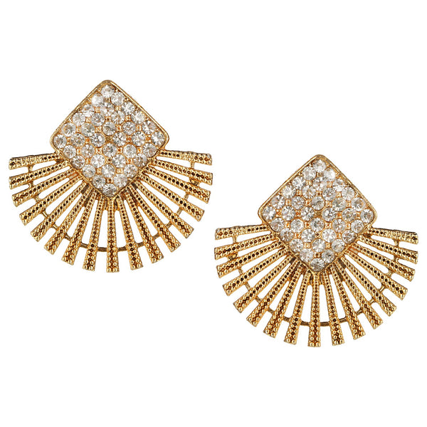 Parna Designer White Diamond Alloy Gold Plated Stud Earring $ EAR-128