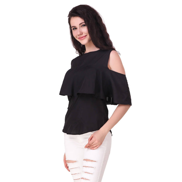 Fame16 Sleeveless Solid Women'S Round Neck Black Crepe Top $ F16-1600203