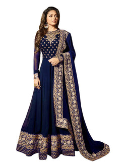 YOYO Fashion Latest Fancy Party Wear Faux Georgette Embroidered Anarkali Salwar Suit $YOYO- F1249-Blue