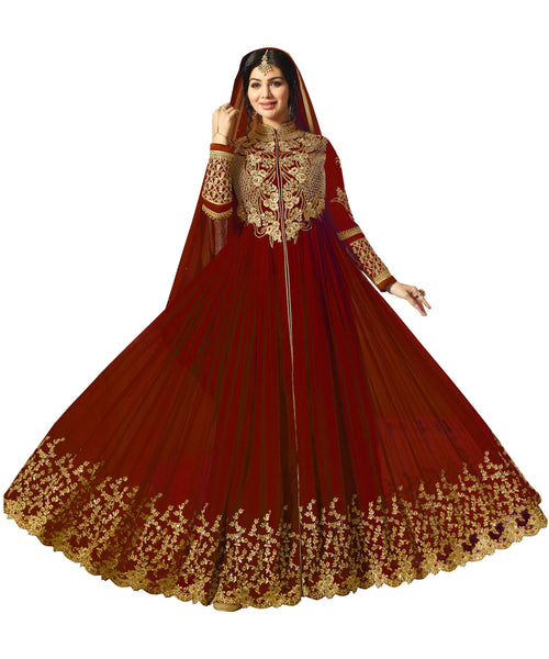 YOYO Fashion Semi-Stitched Designer Faux Georgette heavy Embroidred  Anarkali Suit $1194-Red