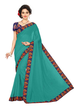 16to60trendz Turquoise Chanderi Lace Work Chanderi Saree $ SVT00095